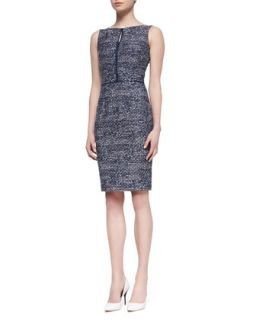 Womens Sleeveless Tweed Sheath Dress, Navy/White   David Meister   Navy/White
