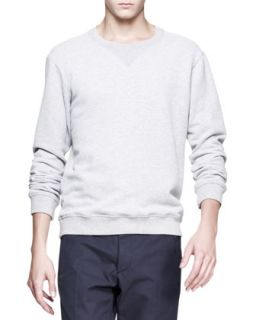 Mens Crewneck Sweatshirt with Elbow Patches, Gray   Maison Martin Margiela