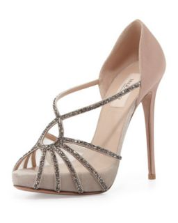 Dia Crystal and Satin Evening Pump   Valentino   Natural (39.0B/9.0B)