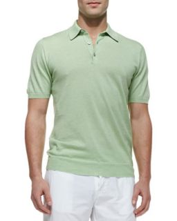 Mens Knit Polo Shirt, Lime   Kiton   (MEDIUM)