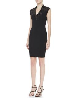 Womens Embellished Ponte Sheath Dress   Haute Hippie   Black (SMALL)