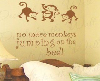 No More Monkeys Jumping on the Bed   Girl's or Boy's Room Kids Baby Nursery   Wall Decal Saying, Vinyl Lettering, Decoration Quote Design, Sticker Graphic Art Decor   Home Decor Product