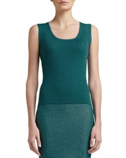 Womens Rib Knit Fine Gauge Scoop Neck Sleeveless Shell   St. John Collection