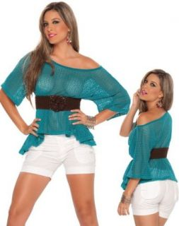 Sexy See Through Aqua Blue Top   Extra Large Blouses Clothing
