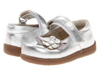 New See Kai Run Emily Silver leather Mary Jane with 3D Flower Toddler Girls Shoes Mary Jane Flats Shoes