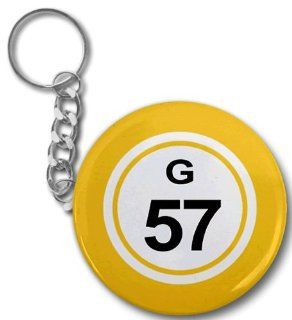 BINGO BALL G57 FIFTY SEVEN YELLOW 2.25 inch Button Style Key Chain  Other Products