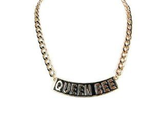 QUEEN BEE Necklace Small Gold and Black Women Fashion Celebrity Inspired Chain Link   As Seen on Brooke Bailey (Basketball Wives LA) and Nicki Minaj Jewelry