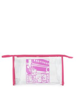 Sketch Art Clear Vinyl Travel Pouch, Pink