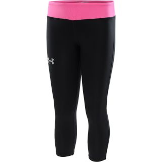 UNDER ARMOUR Girls HeatGear Sonic Capris   Size XS/Extra Small, Black/silver