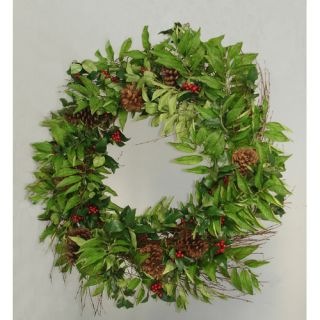 Holly Berry Sorbus and Pine Cone Artificial Christmas Wreath by Tori