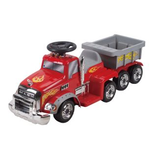 New Star Mack Truck with Trailer Battery Powered Riding Toy   Red