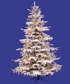 Flocked Sierra Pre lit Fir Christmas Tree   Christmas Trees