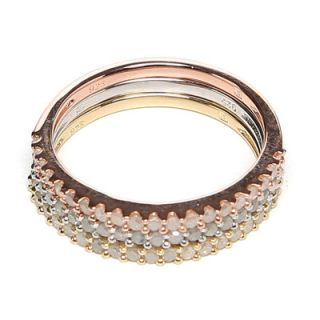 Amour Tri Color Silver Round Cut Diamond Stacking Ring