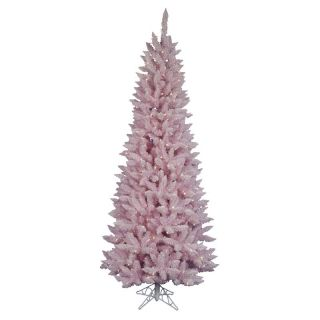 7.5 ft. Flocked Pink Spruce Pre lit Christmas Tree