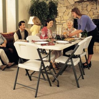 Lifetime 6 ft. Rectangle Commercial Folding Table and 8 Chair Set   Folding Tables & Chairs