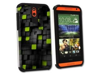 MightySkins Protective Bumper Case Cover for HTC Desire 610 hybrid tpu rubber plastic Cubes
