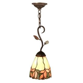 Dale Tiffany Crystal Leaf 1 Light Antique Bronze Hanging Mini Pendant Lamp FTM10002