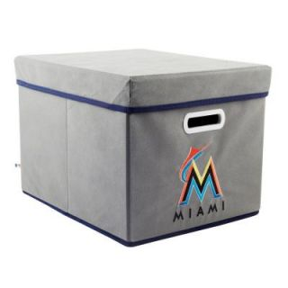 MyOwnersBox MLB STACKITS Miami Marlins 12 in. x 10 in. x 15 in. Stackable Grey Fabric Storage Cube 12200MIA