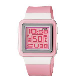 Casio Ladies Calendar Day/Date Watch w/Square ST/White Case, Pink Dial