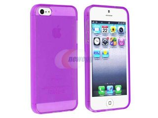 Insten Clear Purple TPU Rubber Skin Case Cover + Front & Back Reusable LCD Cover Compatible with Apple iPhone 5