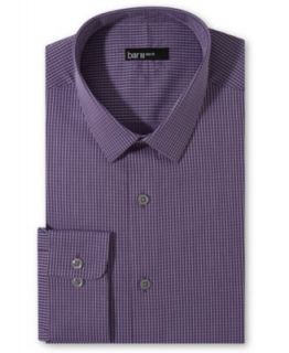 Bar III Slim Fit Purple Silver Mini Check Dress Shirt
