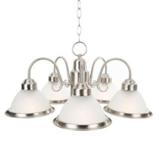 Commercial Electric Halophane 5 Light Brushed Nickel Chandelier WB0390/SC 1