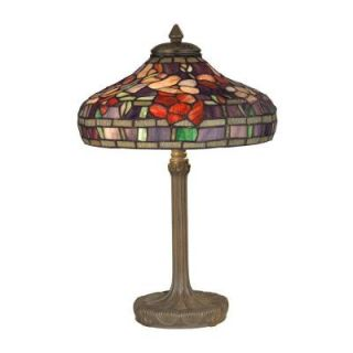Dale Tiffany 18.25 in. Peony Replica Antique Bronze/Verde Table Lamp TT10031