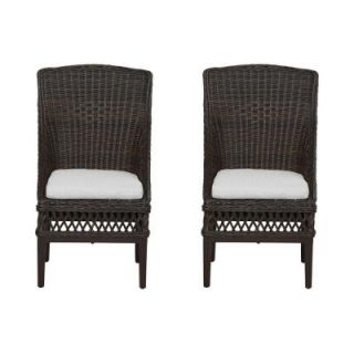 Hampton Bay Woodbury Patio Dining Chair with Cushion Insert (2 Pack) (Slipcovers Sold Separately) DY9127 D B