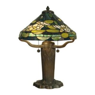 Dale Tiffany 19.5 in. Water Lily Replica Dark Antique Bronze Verde Table Lamp TT10032