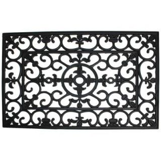 J & M Home Fashions Wrought Iron 18 in. x 30 in. Natural Rubber Door Mat 4174