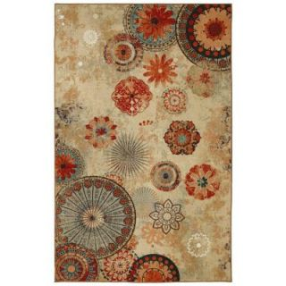 Mohawk Home Alexa Medallion Brown 5 ft. x 8 ft. Outdoor Printed Patio Area Rug 379858