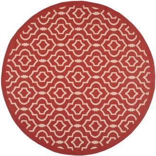 Safavieh Indoor/ Outdoor Courtyard Red/ Bone Geometric Rug (710 Round