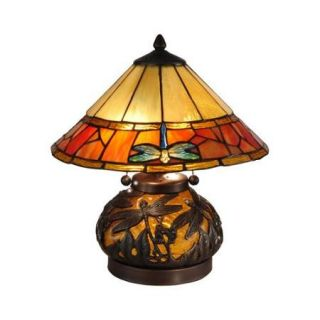 "16.75"" Dark Antique Bronze Dragonfly Genoa Hand Rolled Art Glass Table Lamp with Night Light"