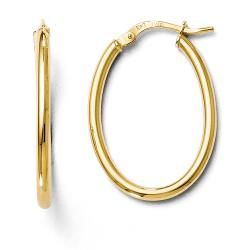 Italian 10k Gold Polished Oval Hinged Hoop Earrings   18554783