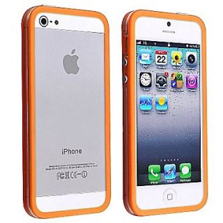 Insten TPU Rubber Bumper Case With Aluminum Button For Apple iPhone 5/5S, Clear/Orange