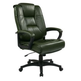 Office Star Work Smart Glove Soft Leather Executive Office Chair in Green EX5162 G16