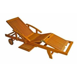 International Caravan Royal Tahiti Wooden Chaise Lounge with Multi Position Deck