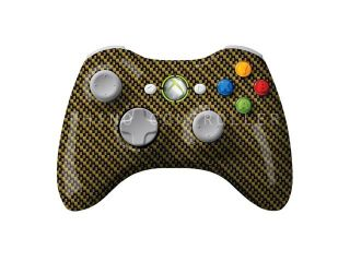 Custom XBOX 360 controller Wireless Glossy WTP 214 Carbon Fiber Yellow Black Custom Painted