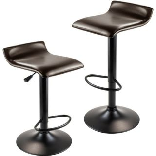 Winsome Trading Paris Adjustable Air Lift Swivel Bar Stool   Black   Set of 2   Bar Stools