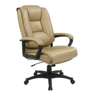 Office Star Work Smart Glove Soft Leather Executive High Back Office Chair in Tan EX5162 G11