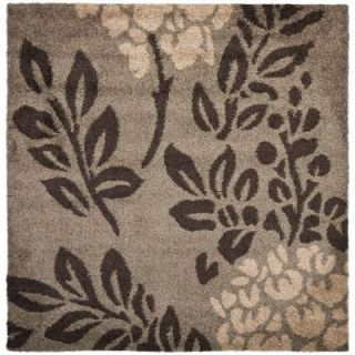 Safavieh Florida Shag Smoke/Dark Brown 6 ft. 7 in. x 6 ft. 7 in. Square Area Rug SG456 7928 7SQ