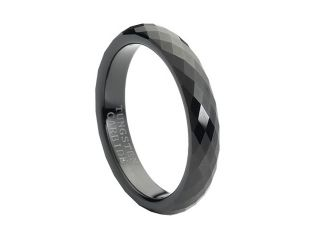 Tungsten Carbide Black Enameled Faceted Ring 4mm Wedding Band Ring
