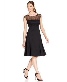 Anne Klein Cap Sleeve Illusion Beaded Dress   Dresses   Women