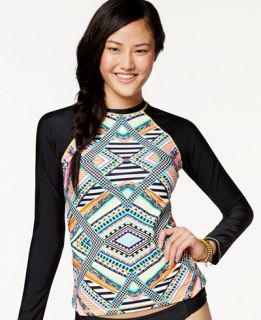 Jessica Simpson Aztec Print Long Sleeve Rashguard   Swimwear   Women