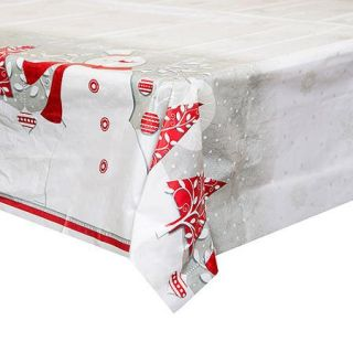"Plastic Frosted Holiday Christmas Table Cover, 84"" x 54"""