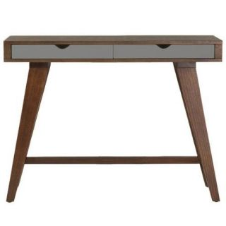 Euro Style Daniel Console Table with Drawers   Walnut / Gray
