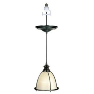Worth Home Products 1 Light Brushed Bronze Instant Pendant Conversion Kit and Overlay with White Glass Shade PBN 0417 0011