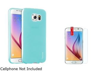 Insten Frost Clear Sky Blue TPU Soft Skin Case + Clear Screen Protector For Samsung Galaxy S6 2076627