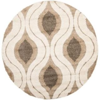 Safavieh Florida Shag Cream/Smoke 5 ft. x 5 ft. Round Area Rug SG461 1179 5R