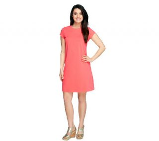 Isaac Mizrahi Live Crew Neck Knit T Shirt Dress —